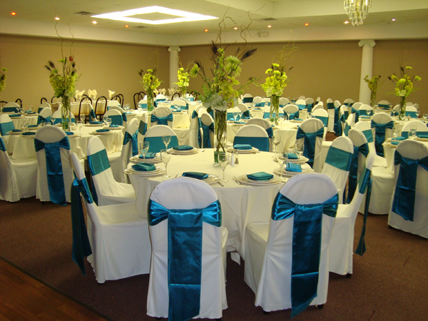 Delicieux ... Chair And Table Covers White And Teal Satin Ribbon Wedding Linens ...