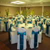 white and teal satin ribbon wedding linens