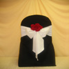 red black and white chair cover