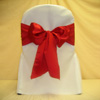 red satin ribbon chair covers at Party Decor